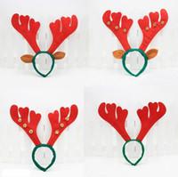 Décoration de Noël Deer Bell Grand Antlers Tête De Noël Hoop Boucle De Fête De Noël Décor De Vacances Cadeau LX3445