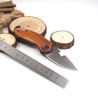 미니 다기능 포켓 나이프 접는 생존 전술 나이프 (440) 블레이드 로즈 우드 핸들 사냥 캠핑 나이프 야외 EDC 도구