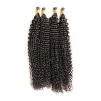 "10 ""_24"" afro verworrene lockige Keratin Haarverlängerung 200g I Nagelspitze Pre Bonded Keratin Fusion Echthaar 100% Remy Echthaarverlängerungen"
