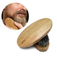 حار بيع الرجل الخنزير الشعر الخشن الصلب جولة الخشب مقبض اللحية الشارب فرشاة مجموعة الشحن المجاني