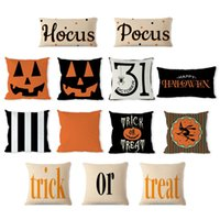 Halloween Decoration Pillow Pumpkin Trick or Treat Linen Pil...