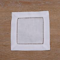 """N002-6: White Linen Cotton Hemstitched Cocktail Napkins- 12pcs lot 6"""" X 6""""- Home Textiles Table Napkin Wholesale"""