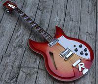 Fuego Glo Cherry Sunburst 330 360 381 12 String Semi Hollow Cuerpo Guitarra eléctrica Guitarra Flama Maple Top Back, Sandwich Cuello, Tablero de ajedrez Bindingr