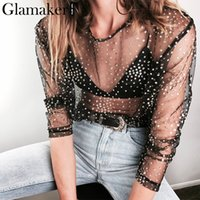 Gilding transparent mesh blouse shirt Women casual shirt sum...