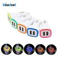Dual LED Chargeur USB de voiture de véhicule Adaptateur Portable 5V 1A Pour Samsung S8 Note 8 chargeur