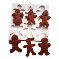 Happy Christmas Gingerbread Man Silicone Mold Fondant Chocol...