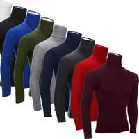 İnsanın Turtleneck Tişörtler Erkekler Rasgele Katı Uzun kollu tişörtleri Sonbahar Kış Mans İnce Tshirts 2016 Yeni Giyim Tops