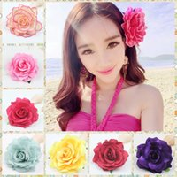 19 Colors 10cm Fashion Girls Rose Flower Brooch Hair Pins Cl...