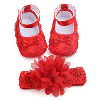 Baby Shoes Girls Bow Headbands Sets, Newborn Girls Soft Soled...