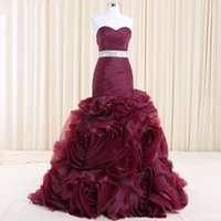 Real Photo Burgundy Plum Tiered Handmade Prom Dress Formal M...