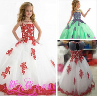 2018 New Lace Toddler Spaghetti White And Red Organza Beaded...