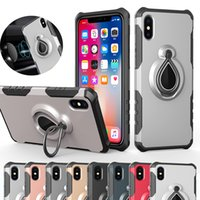 Magnetic Anel Armadura Caso híbrido Dual Layer Com Titular Kickstand no carro para o iPhone X XR XS Max 8 7 6 Plus S8 S9 S10 Além disso,