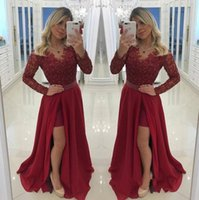 Charming Split Side Burgundy A Line Wedding Dresses V Neck L...