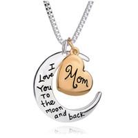 New Silver Gold Mom, je t'aime à la lune et au dos collier pour femmes cadeaux de fête des mères en gros bijoux chaîne plaquée argent