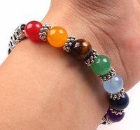 gao Mixed Healing Crystals Stone Chakra Pray Mala Heart Charm Bracelet Jewelry gift
