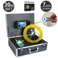 """30M / 98ft Sistema de Cámara de Inspección de Tuberías de Alcantarillado DVR Función con Tarjeta de 8GB 7 """"Monitor 1000TVL Serpiente de Drenaje Cámara de Video Impermeable"""