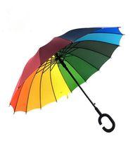 Guarda-chuvas do arco-íris 2018 de Alta Qualidade 16 K Guarda-chuva de Golfe Automático de Longo-punho Guarda-chuva Ensolarado Chuvoso Pongee Rainbow Adulto Cor Guarda-chuva a227