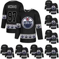Hombres 97 Connor McDavid Jersey Edmonton Oilers 93 Ryan Nugent-Hopkins 33 Cam Talbot 44 Zack Kassian 29 Leon Draisait Hockey Jerseys Black