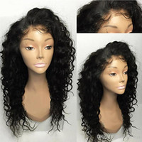 8A Glueless Lace Front Wigs Natural Black Loose Curly Brazil...