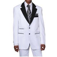뜨거운 판매 새로운 스타일 사용자 정의 만든 두 버튼 화이트 신랑 턱시도 노치 옷깃 최고의 Groomsman 남자 웨딩 정장 (자켓 + 바지)