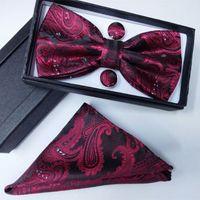 100% шелк мужчины боути карман квадратный галстук-бабочка и носовой платок набор носовой платок с запонкой галстук box set