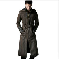 NUOVO Steampunk Gothic Fashion Men Coffee Dark Twill lungo cappotto punk bei cappi in pelle con cappuccio trench cappotti antivento soprabiti