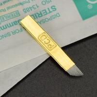 100 pcs 12 Pin PCD Microblading Agulhas Para Caneta Bordada Maquiagem Permanente Sobrancelha Suprimentos de Tatuagem Máquina Lâminas Cabeça Inclinada Ouro