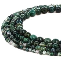 Natural Moss Agate Stone Beads Round Gemstone Loose Beads fo...