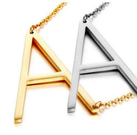 New Stainless Steel A- Z English Letter Necklace Silver Gold ...