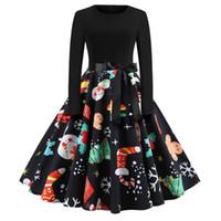 여성 의류 뜨거운 판매 크리스마스 폭발 복고풍 둥근 목 인쇄 긴 소매 대형 스윙 드레스 명소 파티 드레스
