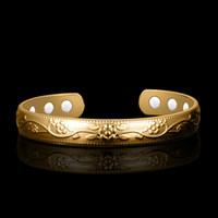 Or couleur manchette Bracelets fleurs Bracelets pour femmes Femme Bijoux de thérapie magnétique ouvert Bangles Bangle santé