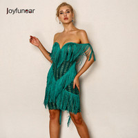 20187 Joyfunear Off Shoulder Tassel Mini Party Dress Women W...