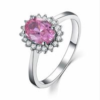 Sterling Silber Vorschlagen Ring 2CT Schöne Schmuck Engagement Synthetische Rosa Diamanten Oval Ring 925 Marke Hochzeit Weißes Gold Farbe