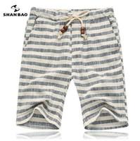 SHAN BAO marca pantaloncini da uomo estate moda stile e confortevole traspirante in cotone a righe per il tempo libero pantaloncini da spiaggia per uomo