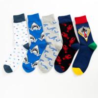 Nueva calidad colorido contraste de color de dibujos animados grandes langosta hombres calcetines ocasionales Harajuku divertido fresco equipo calcetines vestido loco sokken