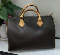 Fashion Women Classic Bags Brown Leather handbags Brand Desi...