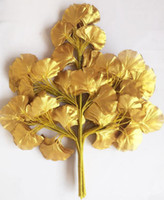 12pcs 60cm binkgo biloba leaf 5 가지 마녀가 나무 잎 인공 나무 실크 분기 줄기 결혼식 정원 장식