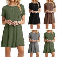 2018 Sıcak Satış Katı Kısa Kollu Artı Boyutu Elbise Kadınlar Için Rahat A-line Etek Elbise 6 Renkler