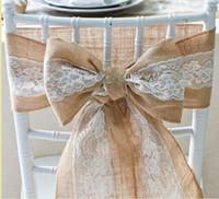 Decoración de la boda Naturalmente elegante silla de encaje de arpillera Fajas Yute silla lazo arco para la decoración de eventos rústicos del partido