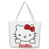 Canvas Women Casual Tote Designer Lady Large Bag Carino 3D Printing Hello Kitty Borse Bolsas Shopping Bag Borse a tracolla donna