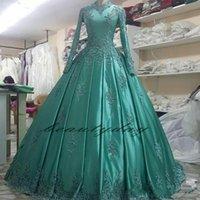 2019 bescheidene muslimische Brautkleider mit a-line Appliqued Green Lace in Arabisch Naher Osten Langarm High Hals Hochzeitskleid