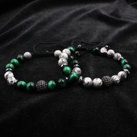 Natürliche graue map stein stränge pave cz charms armband für männer schmuck grün tiger eye pulseras homme buddha geschenk valentinstag urlaub weihnachten