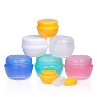 Mantar şekli kozmetik örnek ambalaj boş kap şişeleri plastik kap kavanoz yüz kremi, göz farı, çivi, ücretsiz kaşıkla tozu