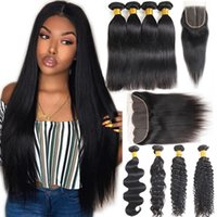 Brazilian Virgin Hair Straight 4 Bundles with Frontal Body W...