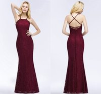 2018 Charming Burgundy Lace Prom Dresses Criss- Cross Back Sl...