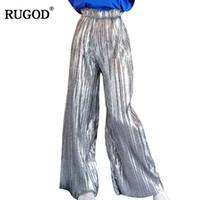 RUGOD 2018 Date Paillettes Doré Argent Pantalon À Plis Taille Haute Jambe Large Pantalon Femmes Casual Taille Élastique Long Pantalon