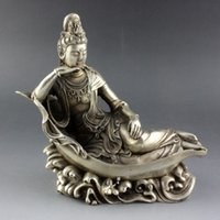 Budismo chino de plata Diosa de GuanYin Estatua de Buda Kwan-yin