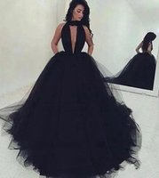 Arabo sexy semplice backless ball gown nero tulle prom dresses lungo 2018 increspato profondo scollo av sweep treno abiti da sera ba4184