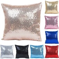 Nueva Sólida Funda de Almohada de Lentejuelas DIY Sirena Glitter Lentejuela Funda de Almohada Vogue Magic Sofa Throw Pillow Case Cojín Decoración Para El Hogar YFA08
