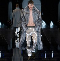 الفضة الشتاء رشاقته الدافئة فو الفراء معاطف رجالي جلد المنك معطف الرجال تصميم طويل خندق معاطف jaqueta دي كورو زائد الحجم